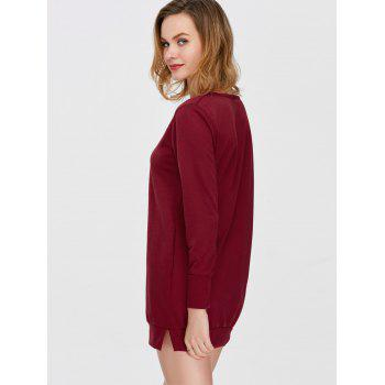Pocket Slit Long Sleeve Dress with Pocket - BURGUNDY S