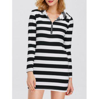 Half Zip Hooded Striped Dress - STRIPE L