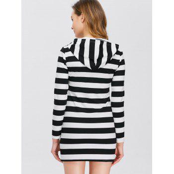 Half Zip Hooded Striped Dress - L L