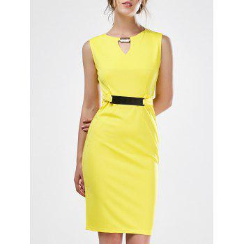 Keyhole Sleeveless Mini Sheath Work Dress