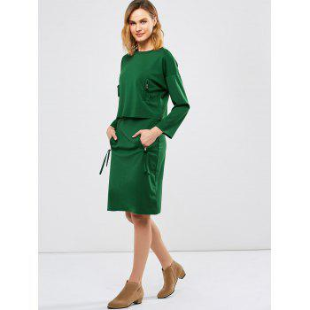 Pencil Skirt with Long Sleeve Tee - GREEN ONE SIZE