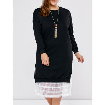 Plus Size Mesh Insert Long Sleeve Dress