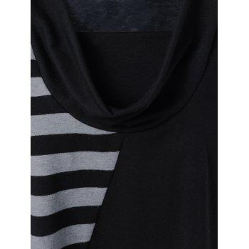 Plus Size Cowl Neck Striped Trim Tee - XL XL