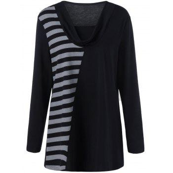 Plus Size Cowl Neck Striped Trim Tee - BLACK AND GREY BLACK/GREY