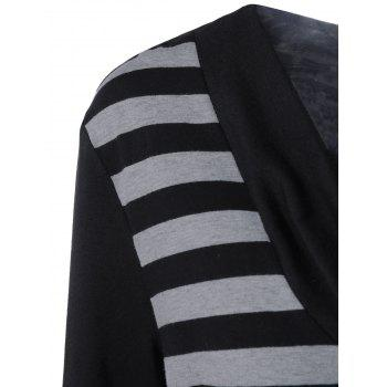 Plus Size Cowl Neck Striped Trim Tee - BLACK/GREY BLACK/GREY