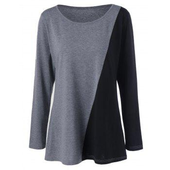 Plus Size Longline Two Tone Tee - BLACK AND GREY XL