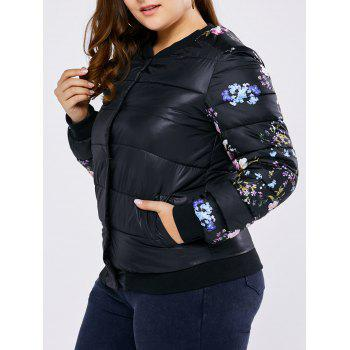 Plus Size Floral Quilted Coat