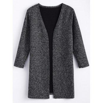 Plus Size Open Front Tweed Coat