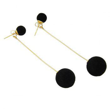 Small Pom Ball Pendant Earrings - BLACK
