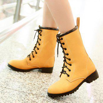 PU Leather Flat Heel Short Boots - YELLOW YELLOW
