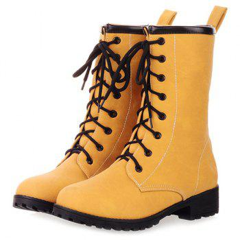 PU Leather Flat Heel Short Boots - YELLOW 37