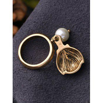 Faux Pearl Rhinestone Insect Ring - GOLDEN GOLDEN