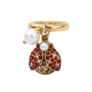 Faux Pearl Rhinestone Insect Ring - GOLDEN ONE-SIZE