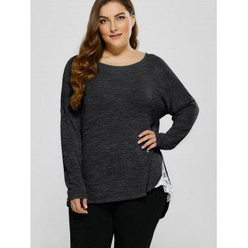 Plus Size Lace Trim Drop Shoulder T-Shirt - BLACK BLACK