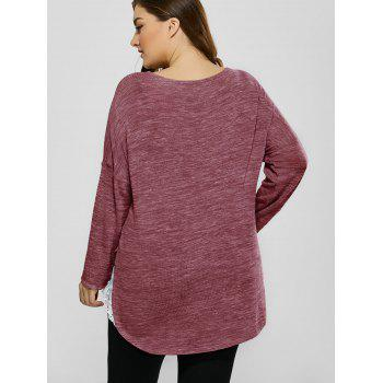 Plus Size Lace Trim Drop Shoulder T-Shirt - 5XL 5XL
