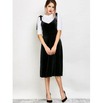Tie Shoulder Velvet Pinafore Dress