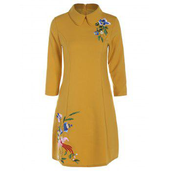 Collared Floral Embroidered Knee Length Dress