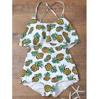 Pineapple Print Frilled Cute One Piece Bathing Suit