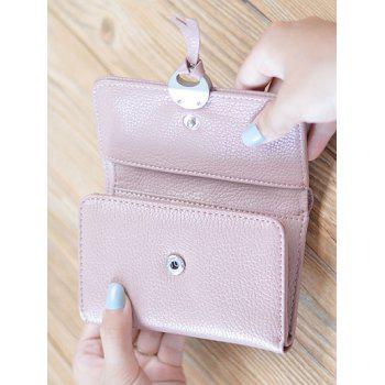 Tri Fold Faux Leather Small Wallet - PINK