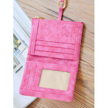 Bi Fold Metal Embellished Small Wallet -  ROSE RED