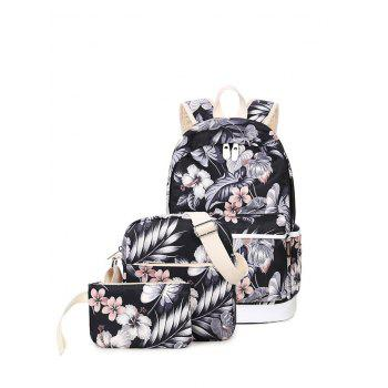 Flower Painted 3 Pcs Backpack Set
