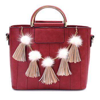 Pompoms Stitching Tassels Tote Bag