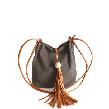Tassel Faux Leather Shoulder Bag