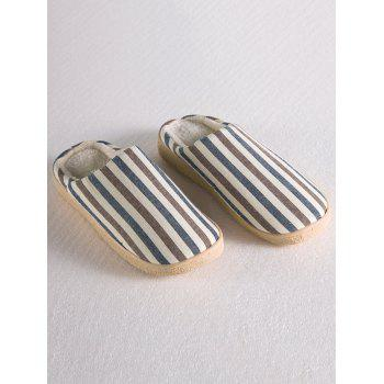Stripe Flocking House Slippers - LIGHT COFFEE LIGHT COFFEE