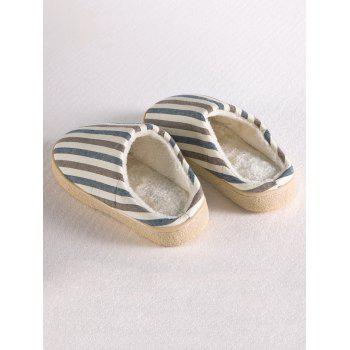Stripe Flocking House Slippers - SIZE(42-43) SIZE(42-43)