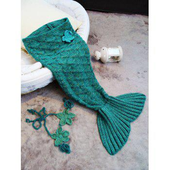 Sleeping Bag Crochet Mermaid Blanket Set For Baby - DEEP GREEN
