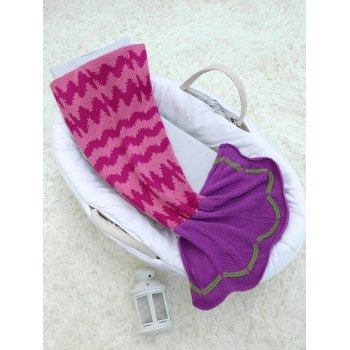Crochet Wave Stripe Design Mermaid Blanket For Baby -  COLORMIX