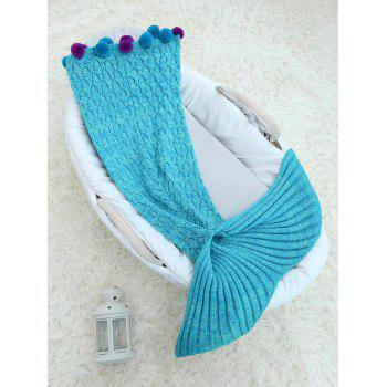 Handmade Crochet Pom Ball Mermaid Blanket For Baby - LAKE BLUE