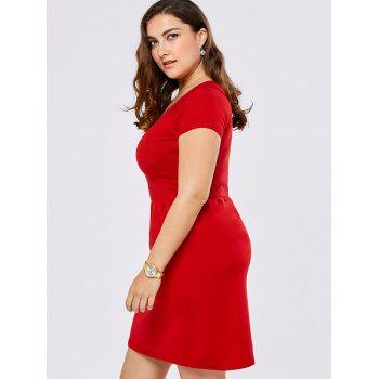 Plus Size V Neck Mini Sweater Dress - RED RED