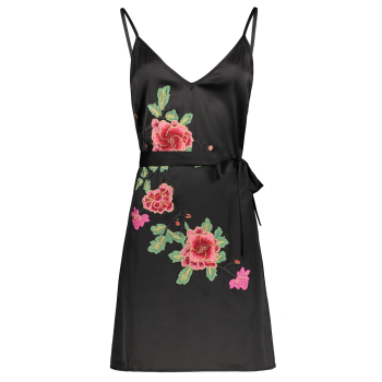 Floral Embroidered Tied Mini Slip Dress