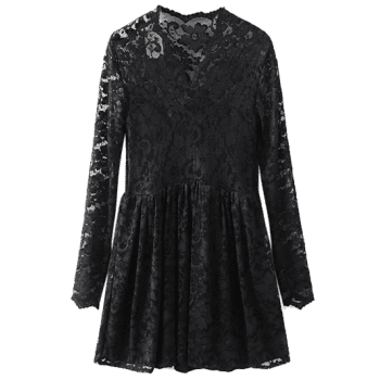 V Neck Openwork Lace Dress