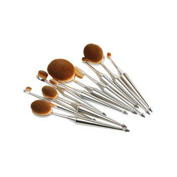 10 Pcs Oval Toothbrush Mermaid Shape Makeup Brushes Set - SILVER