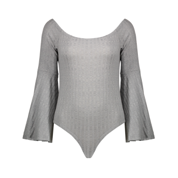 Flare Sleeve Off The Shoulder Bodysuit - GRAY M