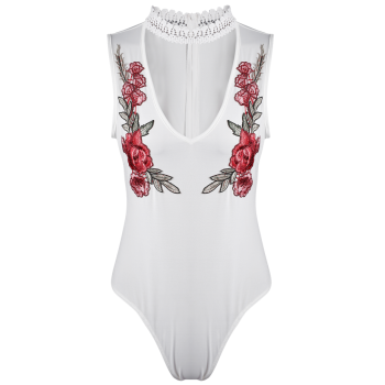 Sleeveless Floral Embroidered Choker Bodysuit - M M
