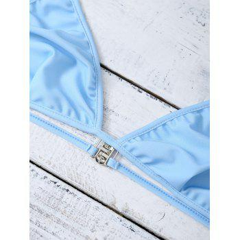 Unlined Plunge Bikini Set - LIGHT BLUE LIGHT BLUE