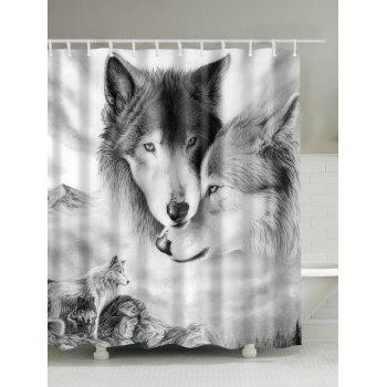 3D Wolf Digital Print Shower Curtain