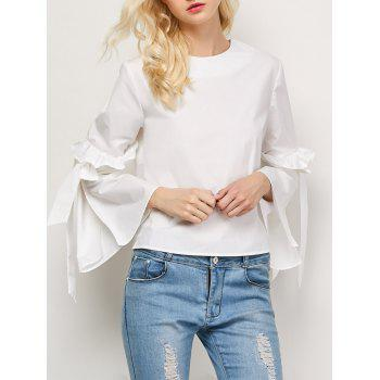 Flounced Oversized Flare Sleeve Blouse - WHITE S