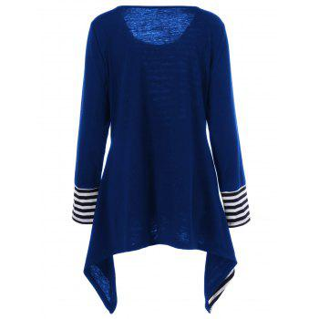 Plus Size Asymmetric Striped Tunic T-Shirt - BLUE XL