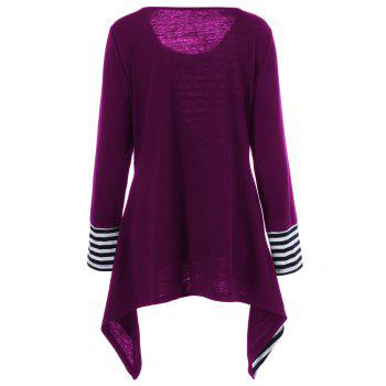 Plus Size Asymmetric Striped Tunic T-Shirt - VIOLET ROSE 4XL
