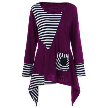 Plus Size Asymmetric Striped Tunic T-Shirt - VIOLET ROSE XL