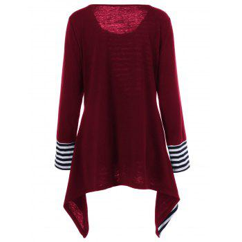 Plus Size Asymmetric Striped Tunic T-Shirt - RED RED