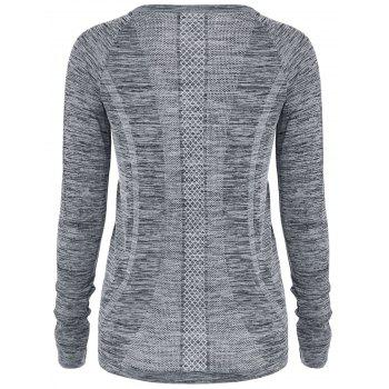Heathered Thumbhole Long Sleeve Gym Top - GRAY GRAY