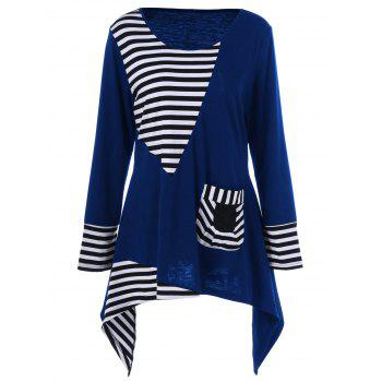Plus Size Asymmetric Striped Tunic T-Shirt - BLUE BLUE