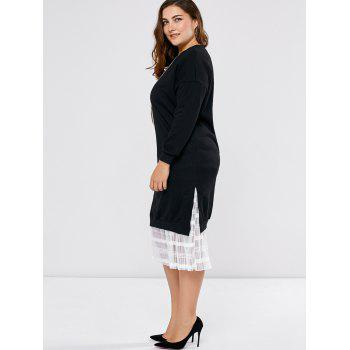 Plus Size Mesh Insert Long Sleeve Dress - BLACK ONE SIZE