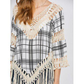 Plaid Tassel Crochet Cover-Up - APRICOT APRICOT