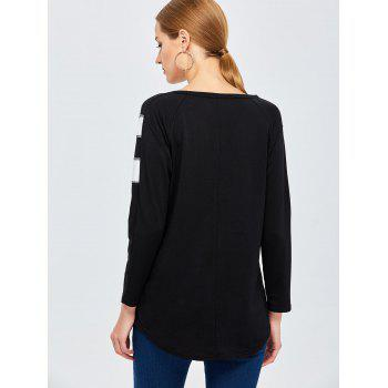 Long Sleeve Panel Basic Tee - BLACK BLACK